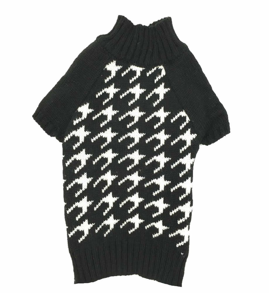 Houndstooth Pet Sweater Knitwear for Dogs & Cats Elegant Warm Knitted Turtleneck (Black & White, S)