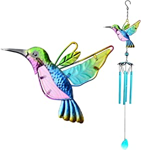 AVEKI Hummingbird Wind Chimes, Outdoor Wind Chime Gifts for Mom Indoor Iron & Stained Glass Wind Chimes for Home, Garden, Window, Yard, Patio, Lawn Decor Housewarming Thanksgiving (Hummingbird Blue)