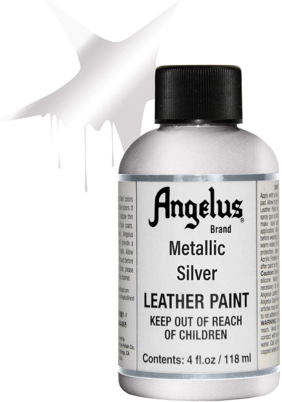 Acabado Acrilico Para Pintura Sobre Cuero Angelus plateado