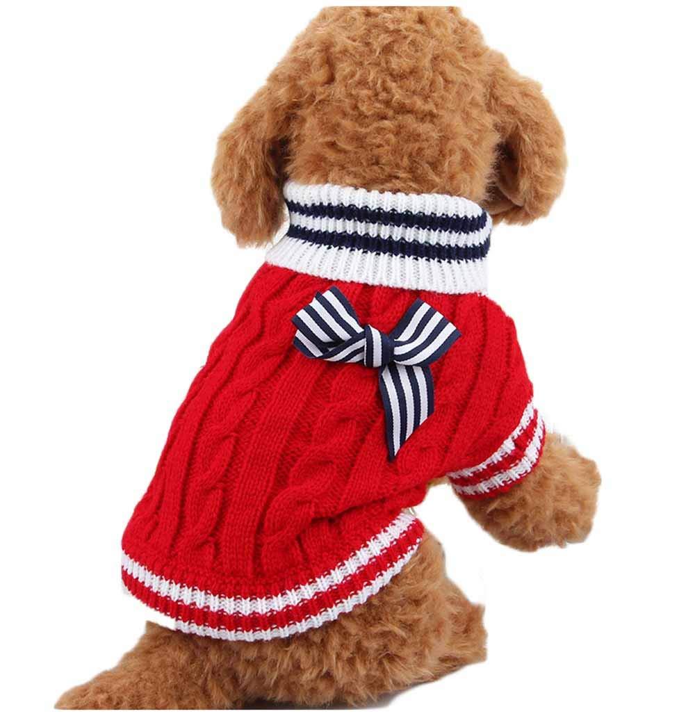 feiling Pull-Over en Tricot pour Petit Chien Chiot Chiot Chat Costume Confortable pour Chien Pull-Over à Capuche pour Chien Noël Tops Manteau Dog Hoodie Shirt Automne Printemps Hiver