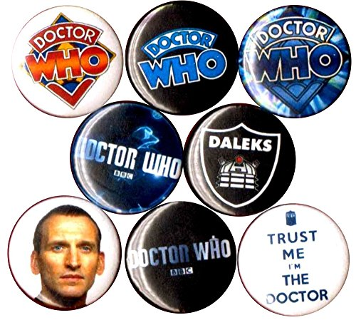 Dalek Costume Images (DR WHO 8 NEW 1 inch pins button badge DALEK TARDIS STOCKING STUFFER)