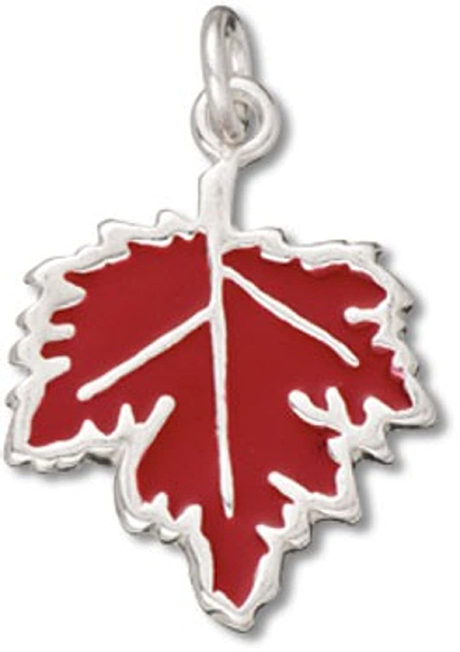 Sterling Silver Girls .8mm Box Chain Canadian Red Enameled Maple Leaf Pendant Necklace