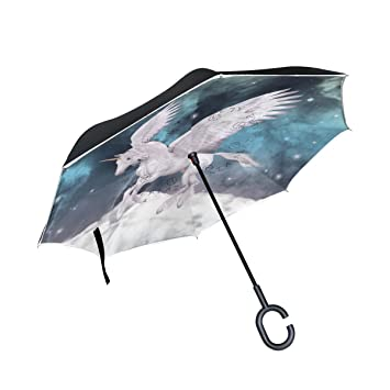 Paraguas invertido con diseño de unicornio galaxy Bennigiry, plegable, doble capa, resistente al