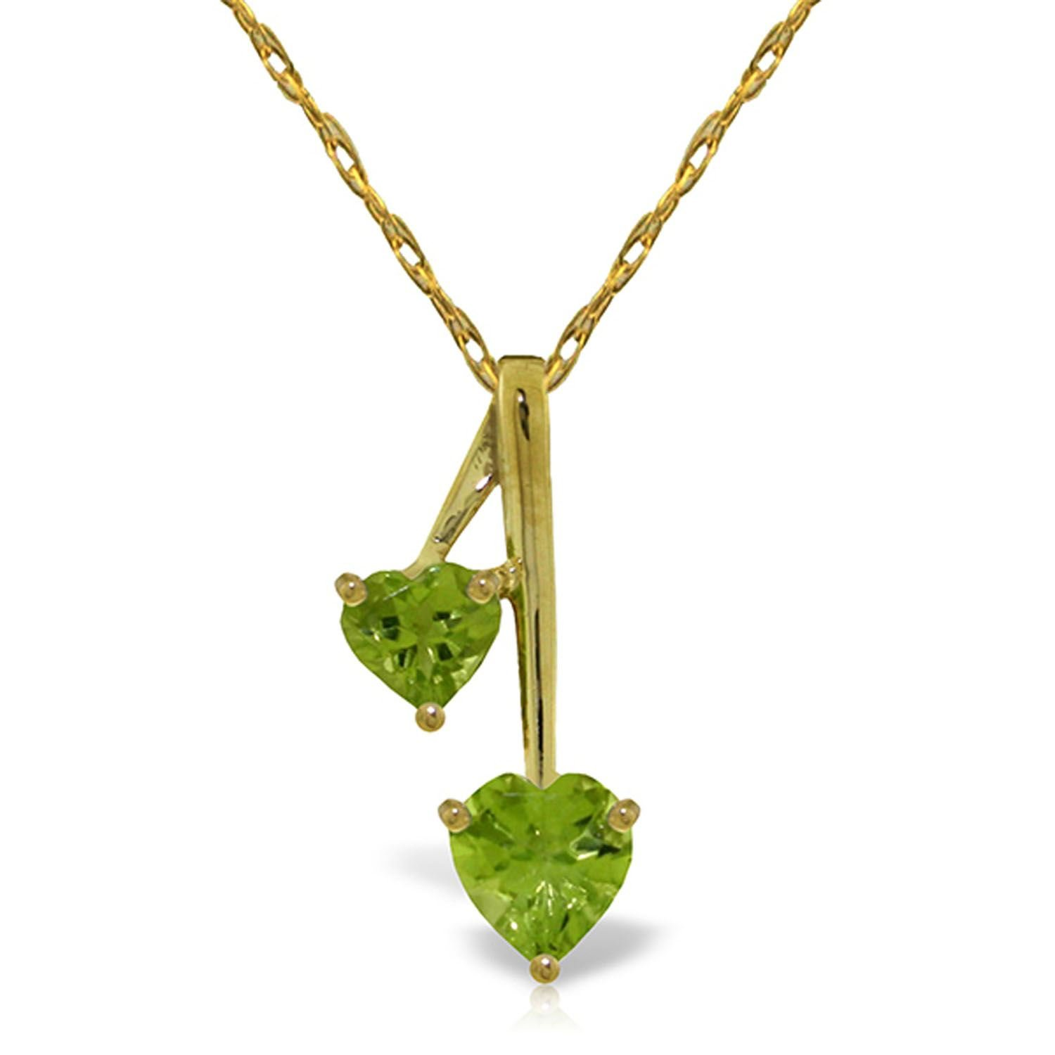 ALARRI 1.4 Carat 14K Solid Gold Hearts Necklace Natural Peridot with 24 Inch Chain Length