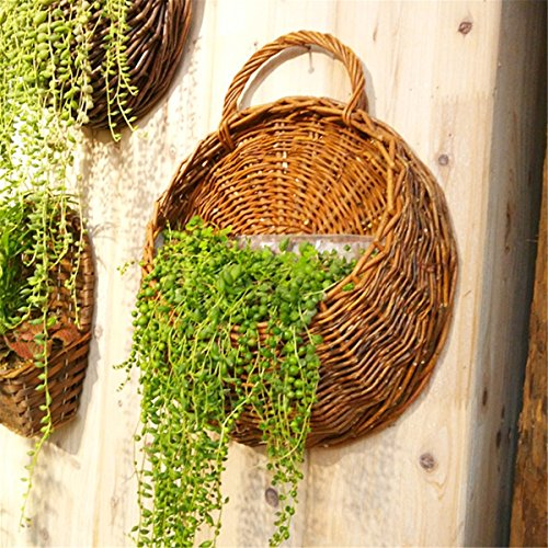 (Jeteven Handmade Wicker Hanging Flower Basket Rattan Plant Vine Wall Basket for Home Wedding Party Decoration)