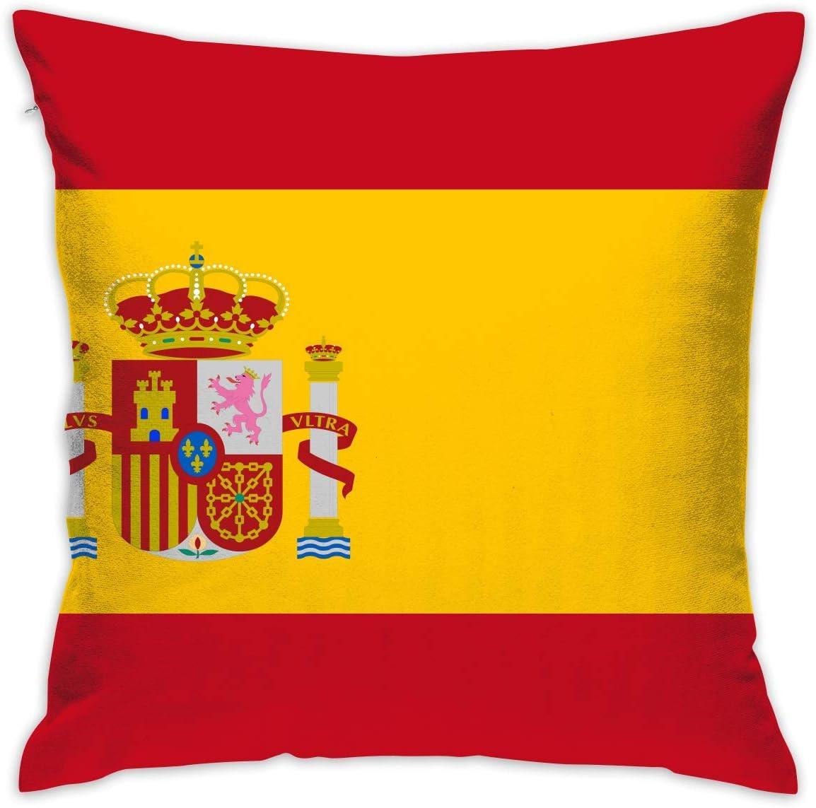EU Funda de Almohada Decorativa Fundas de cojín de Bandera de España Fundas de Almohada para sofá Dormitorio Silla de Coche 18 x 18 Pulgadas: Amazon.es: Hogar