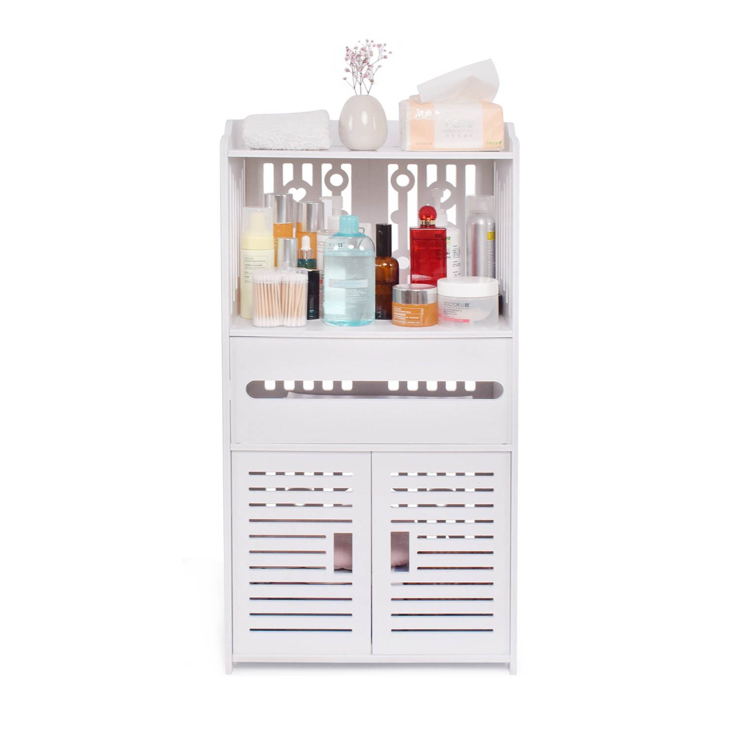 aimu Waterproof 2 Door Bathroom Cabinets,Furniture for Bathroom and Toilet,White QQXWJJYP