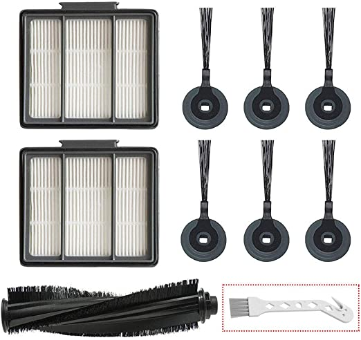 2 Pack HEPA Filter /& 6 Side Brush /& 1 Clean Brush Lemige 2 Pack Replacement Filter 6 Side Brush for Shark ION Robot S87 R85 RV850 Vacuum Cleaner
