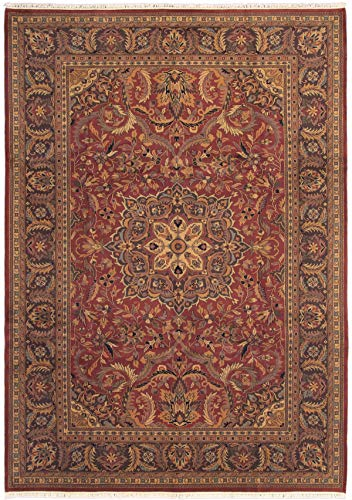 eCarpet Gallery Large Area Rug for Living Room, Bedroom | Hand-Knotted Wool Rug | Finest Agra Jaipur Bordered Red Rug 9'6