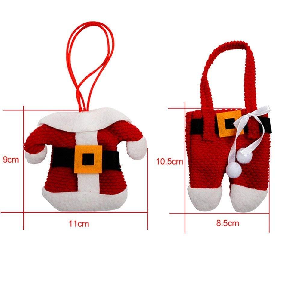 Zogin Weihnachten Besteckhalter Taschen 6pcs Sankt-Klage Weihnachten Dekoration Besteck Kostüm kleine Hosen und Kleidung Besteck-Sets(6 Stücke)