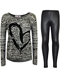 Kids Girls HEART Printed Trendy Top & Stylish Fashion Legging Set Age 7-13 Years
