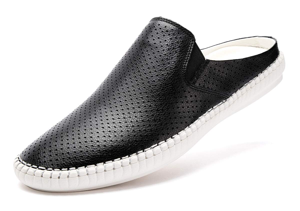 FLSHO Men's Genuine Leather Handswen Causal Slip On Shoes Fashion Breathable Loafers Water Slippers Black FLS-1993HEI105