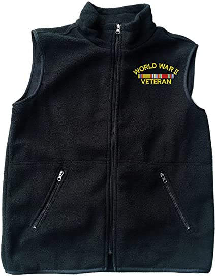 World War 2 Veteran Black Fleece Zipped Vest with Pocket