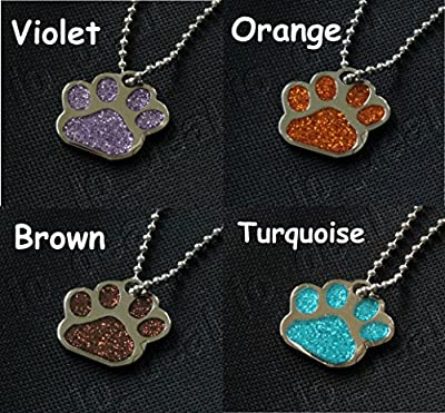 Glitter Paw Pet ID Tag FREE Custom Engraved Dog Cat Personalized 1-1/16