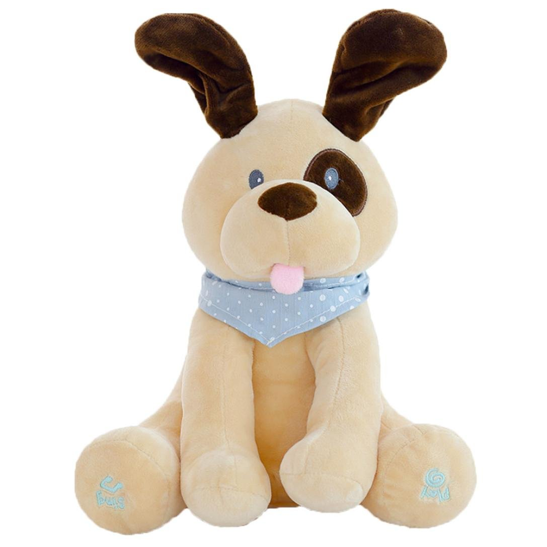 Peek-a-boo Dog, SUKEQ 12Inch Plush Peek Punny Dog Play Hide And Seek Toy /Cute Music Dog/Interactive Toys/Kids Toys/Educational Toy/Animated Flappy Plush Toys for for Kids & Adults