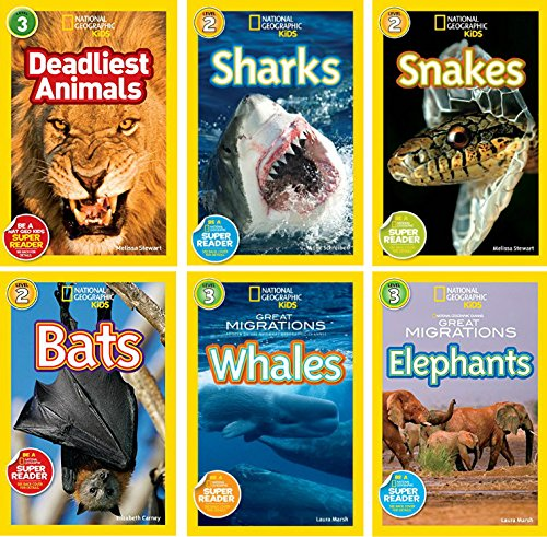 National Geographic Readers Sharks, Snakes, Bats, Deadliest Animals, Great Migrations Elephants, Great Migrations Whales 6 pack
