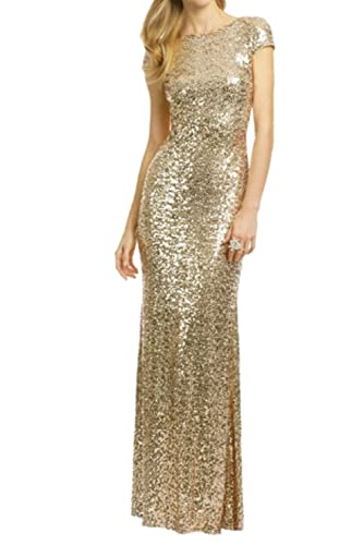 Sparkle Rose Gold Sequins Bridesmaid Dresses Modest Long Prom Evening Gowns