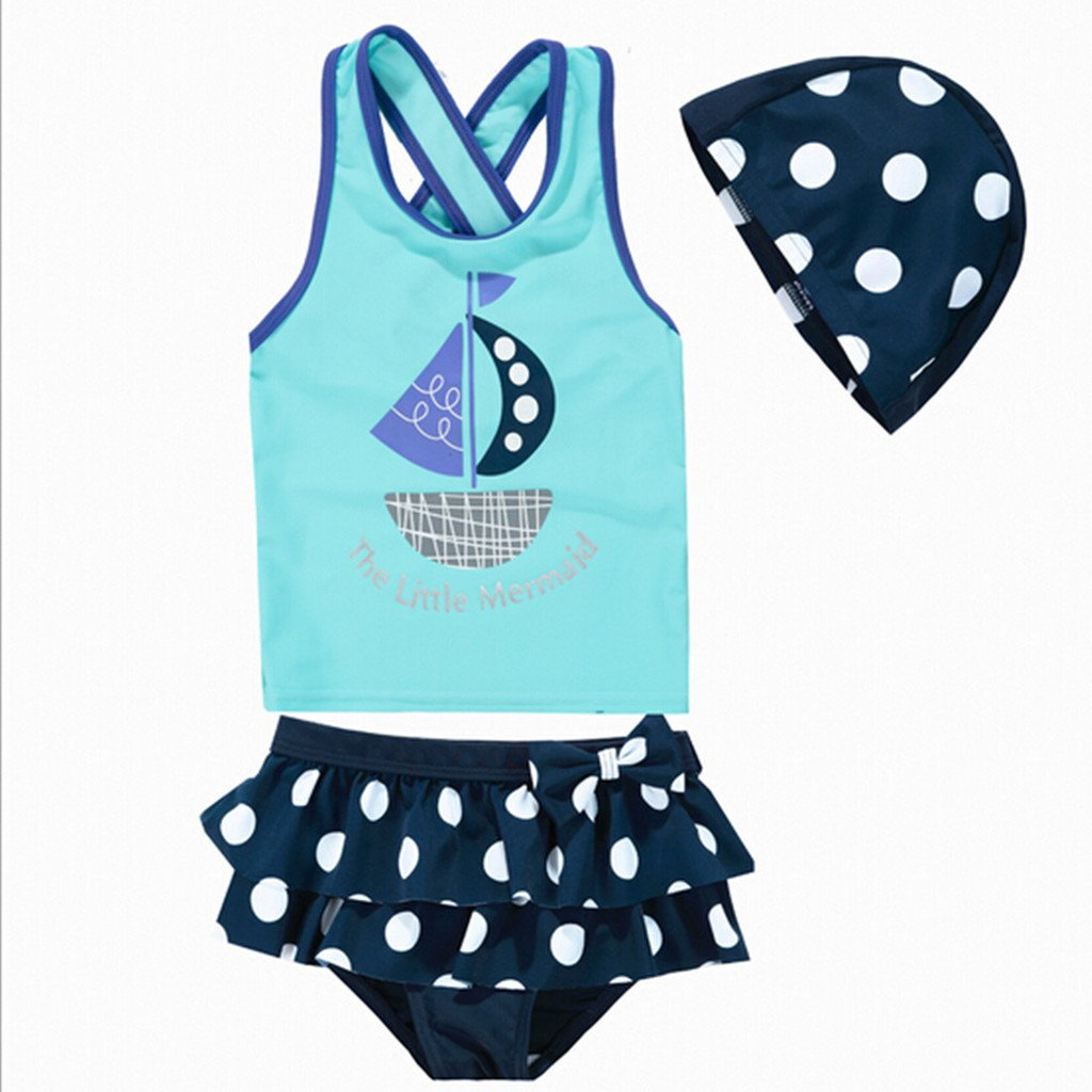Remeehi Kid Girls Two-piece Swimsuits Upf50 Top and Swimming Trunks Blue 9