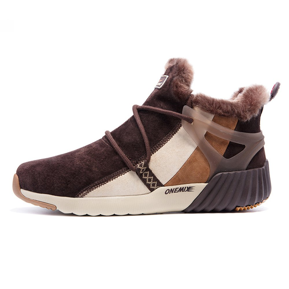 ONEMIX New Arrival Men and Women Fur Lined Winter Snow Boots Ankle-High Sports Sneakers B076CFTMT9 Size6.5 D(M) US=EUR 39=Foot Length 9.64in|Darkbrown