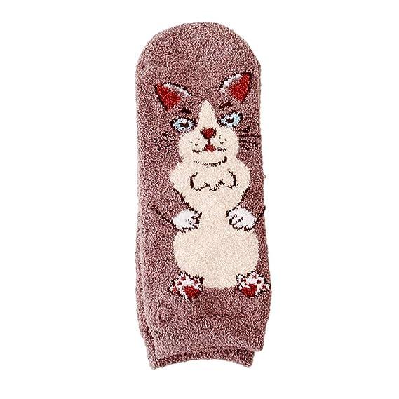 FAMILIZO Calcetines Invierno Mujeres Dibujos Animados Gato Animal Diseño Lanas Color Sólido Calcetines Tobilleros Antideslizantes: Amazon.es: Ropa y ...