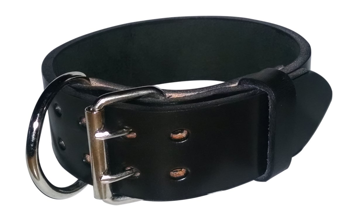 Pitbull & Large Breeds Leather Dog Collar - Free Personalization - Pet Training (Black, 2'' Width Fits 20-23'' Neck)