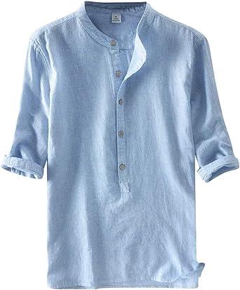 Camisa Lino Hombre Suelta Transpirable Blusas De Manga 3/4 Camisas Sin Cuello Color Sólido: Amazon.es: Ropa y accesorios