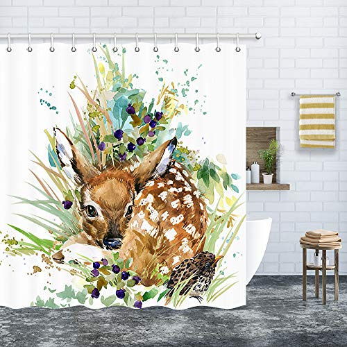 Watercolor Deer Shower Curtain Set, Hand Painted Animal Cute Sika Deer for Kids Premium Waterproof Fabric Bath Curtains, Bathroom Decor with 12 Hooks, 69X70Inches