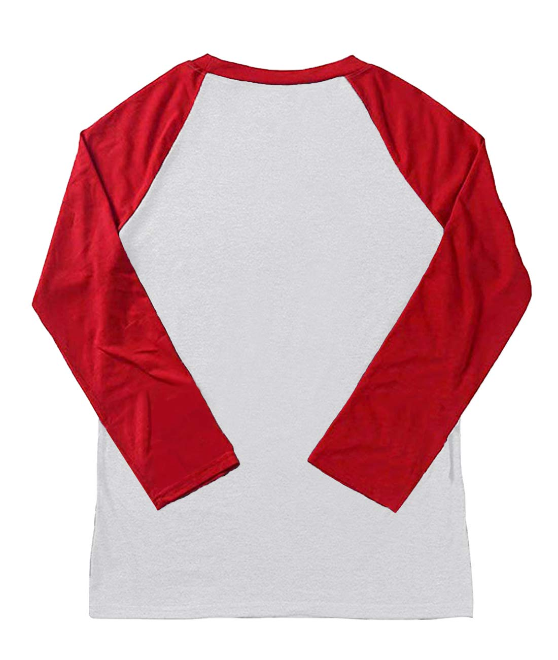 LeMarnia Christmas Shirts for Women Long Sleeve, Ladies Round Neck Raglan Funny Tops Casual Letter Print Patchwork Cute Graphic Tees Red1 L