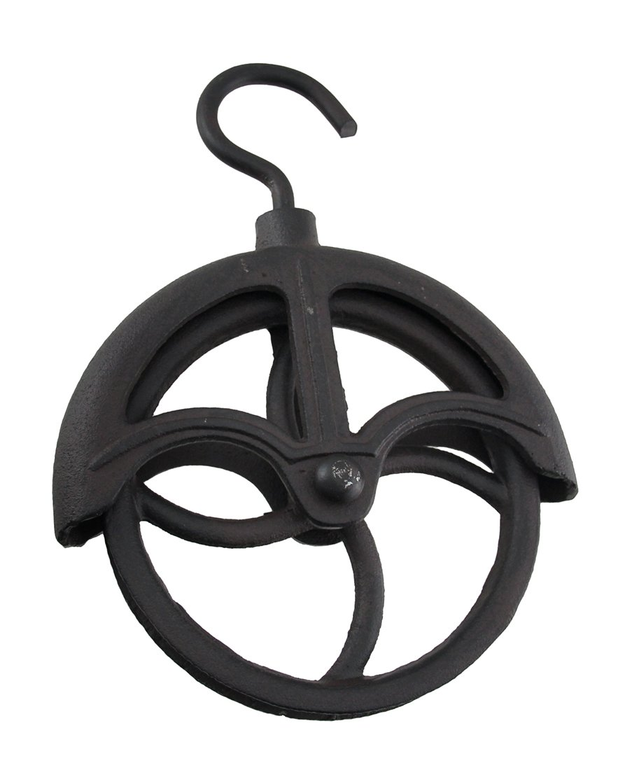 Zeckos Cast Iron Hat Hooks Rustic Brown Wall Mounted Retro Metal Pulley Wheel 8.5 X 11.25 X 2 Inches Brown