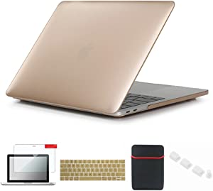 Se7enline New MacBook Pro Case 2016-2019 with/Without Touch Bar Touch ID Plastic Laptop Cover for MacBook Pro 13 A1706/A1708/A1989/A2159 with Sleeve, Keyboard Skin, Screen Protector, Dust Plug, Gold