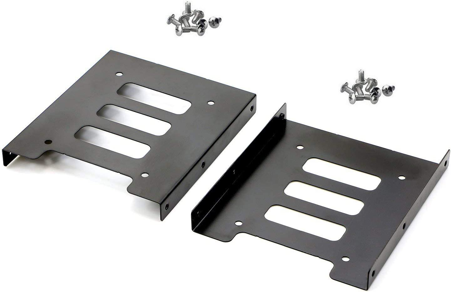 "Pasow 2 Pack 2.5"" to 3.5"" SSD HDD Hard Disk Drive Bays Holder Metal Mounting Bracket Adapter for PC (Bracket)"
