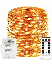Sunfuny LED Fairy String Lights 66ft 200 Leds, Battery Operated Waterproof Copper Wire Starry Firefly Lights, Timer Dimmable 8 Modes Remote Control for Festival Decor, Warm White, Halloween Gift