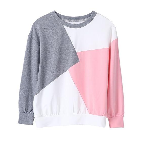 Naturazy Sudaderas Mujer, Tumblr Moda Invierno Camisetas Suelta Blusas Patchhwork Sweatshirt Cuello Redondo Estilo SóLido