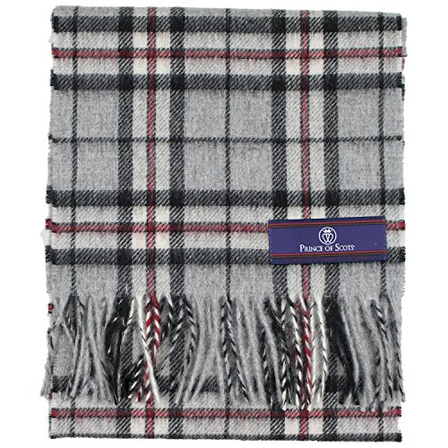 - Prince of Scots Pure Merino Lambswool Tartan Scarf Grey Thompson,Gray,One Size