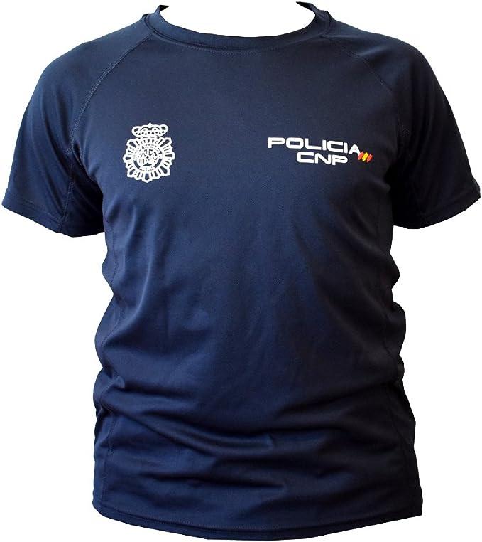 CNP camiseta policia nacional tejido tecnico para entrenamiento oposiciones, color azul marino con bandera de españa, disponible en varias tallas (s): Amazon.es: Deportes y aire libre