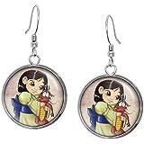 Young Mulan Necklace, Disney Princess Mulan Pendant, Child Mushu Earrings, Disney's Princesses Kids Jewelry Set, Nerd Nerdy Presents, Geek Geeky Gifts