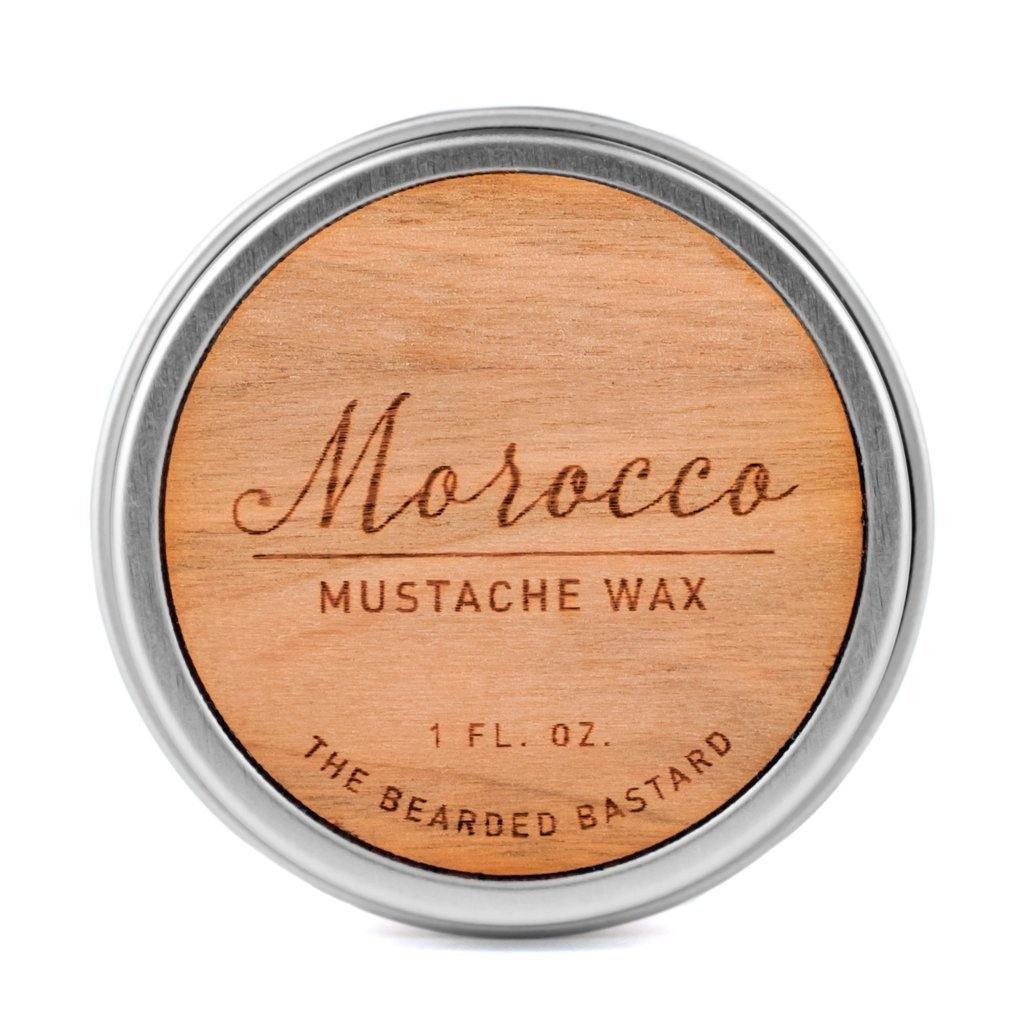 Morocco Mustache Wax by The Bearded Bastard | A Strong Hold| Mustache Grooming, Men's Oils, Beeswax, Jojoba Oil, Mens Care, Facial Hair Products | ALL NATURAL, Petroleum-free, 1oz Men's Oils