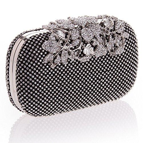 E Women Purse Flower Crystal Black Evening Gold Clutches TDPAC Bag Elegant gpwnSq5Zrp