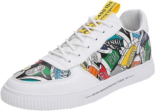 RYTEJFES Zapatillas Graffiti De Lona para Hombres De Moda Transpirable Cómodo Zapatos De Caña Alta Casual Zapatos Al Aire Libre Transpirable Comodidad De Caña Alta Zapatillas De Deporte Al Aire Libre: Amazon.es: