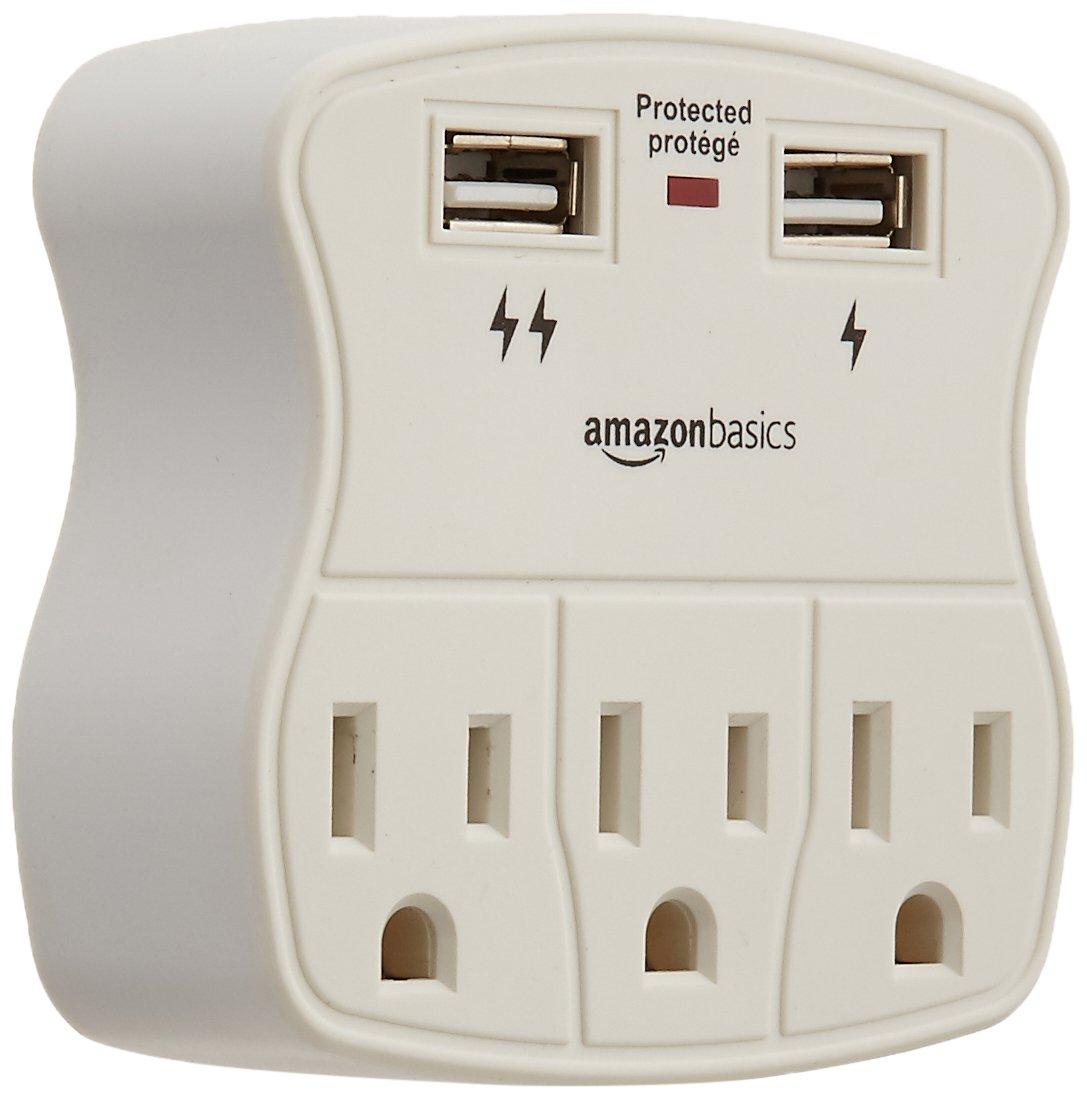 4-Pack CU23011-W4PK Basics 3-Outlet Surge Protector with 2 USB Ports