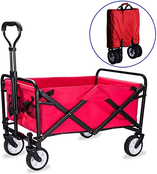 QXTT Carretillas De Carro Plegable con Carro Plegable De Mano Carro Transporte para Jardín Carro para Playa Carga hasta 80kg,Red: Amazon.es: Hogar