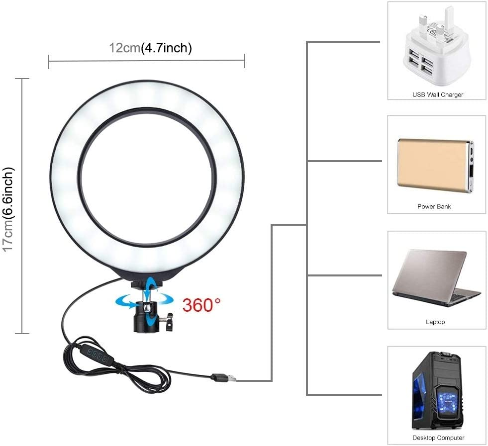QUAN Ring Light Kit Photographic Equipment Ring Flash Accessories 4.7 inch 12cm USB 3 Modes Dimmable LED Ring Vlogging Photography Video Lights Desktop Tripod Holder with Cold Shoe Tripod Ball Head