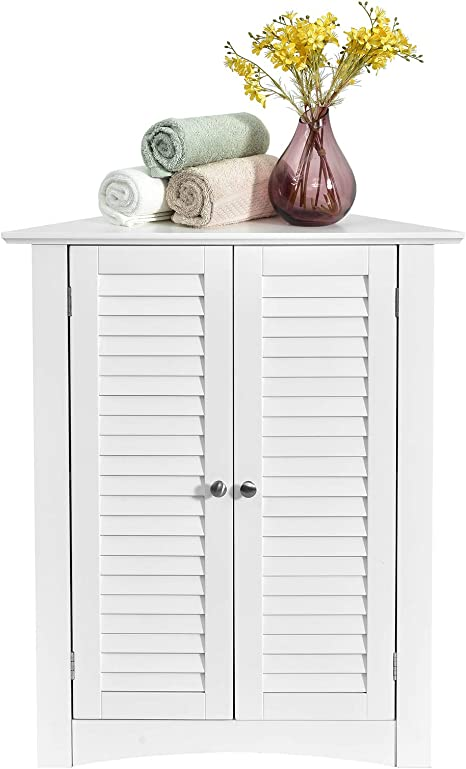 Tangkula Corner Storage Cabinet Space Saving Corner Cabinet With Double Shutter Doors Adjustable Shelf Freestanding Floor Cabinet Organizer For Kitchen Living Room Bathroom White Kitchen Dining