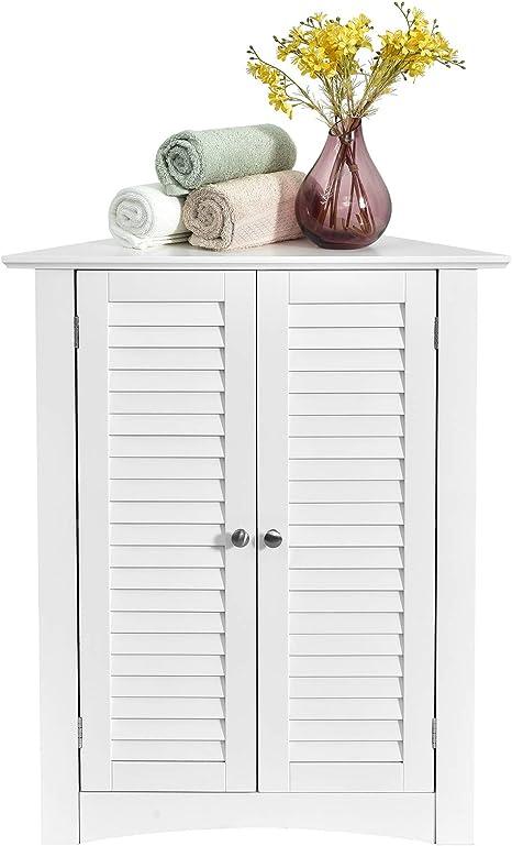 Tangkula Corner Storage Cabinet Space Saving Corner Cabinet With Double Shutter Doors Adjustable Shelf Freestanding Floor Cabinet Organizer For Kitchen Living Room Bathroom White Kitchen Dining