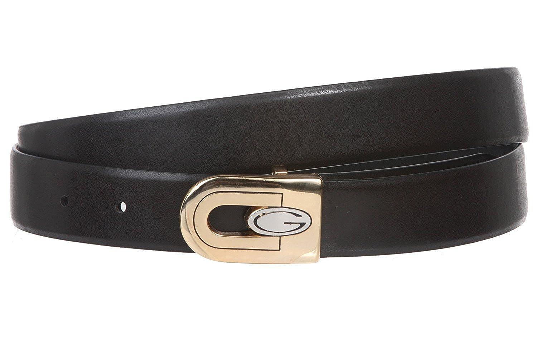MONIQUE Men Black//Brown Reversible Gold Buckle Plain Leather Clamp On 29mm Belt