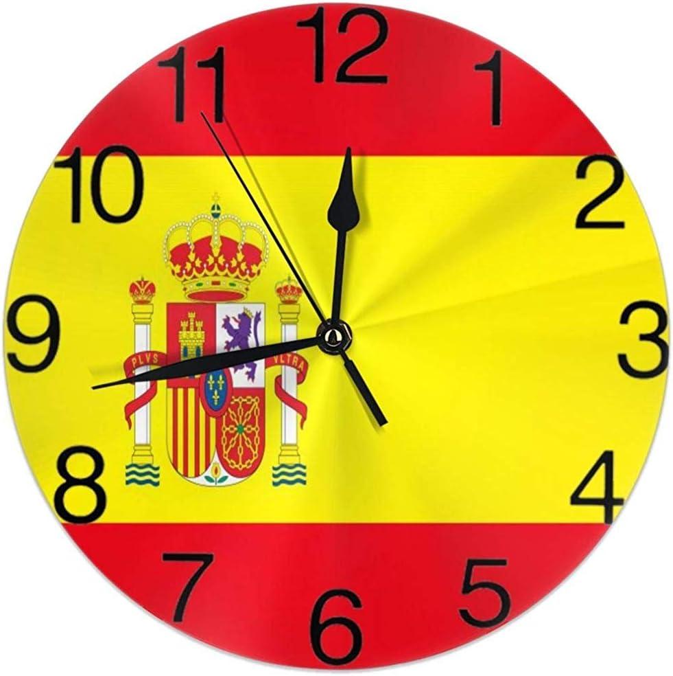 Kncsru Bandera de España Reloj de Pared Redondo Silencioso No ...