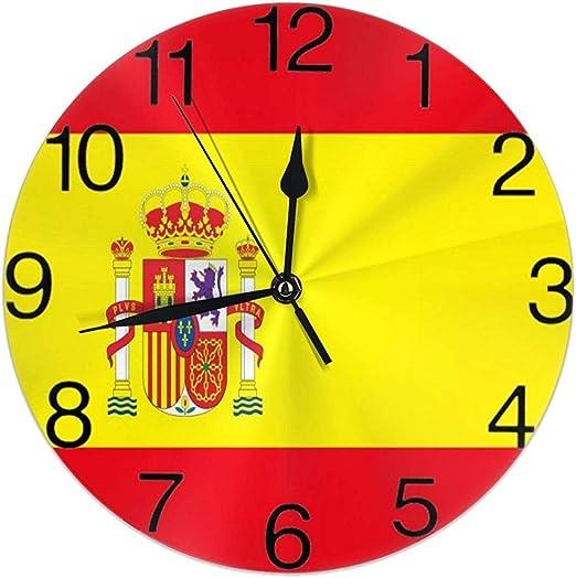 Kncsru Bandera de España Reloj de Pared Redondo Silencioso No Funciona con Pilas Fácil de Leer: Amazon.es: Hogar