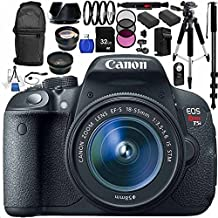 Canon EOS 70D DSLR Camera with 18-55mm STM f/3.5-5.6 Lens Kit. Includes: Wide Angle & Telephoto Lenses, 3 Piece Filter Kit (UV-CPL-FLD), 32GB Memory Card, 2 High Capacity Replacement Batteries, Deluxe Backpack, Tripod & More