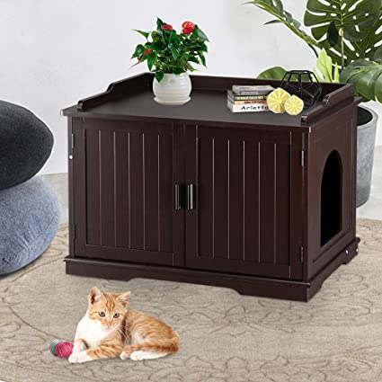 Bonnlo Nightstand Cat House W Pet Mat Cat Washroom Storage Bench Cat Litter Box Enclosure Cabinet Litter Box Cover With Sturdy Wooden Structure Indoor Storage Bench Furniture Coffee Pet Supplies