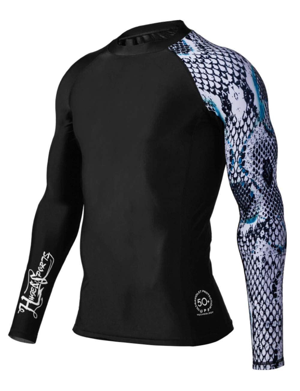 HUGE SPORTS Men's Splice UV Sun Protection UPF 50+ Skins Rash Guard Long Sleeves (Snake Scale, S) by HUGE SPORTS